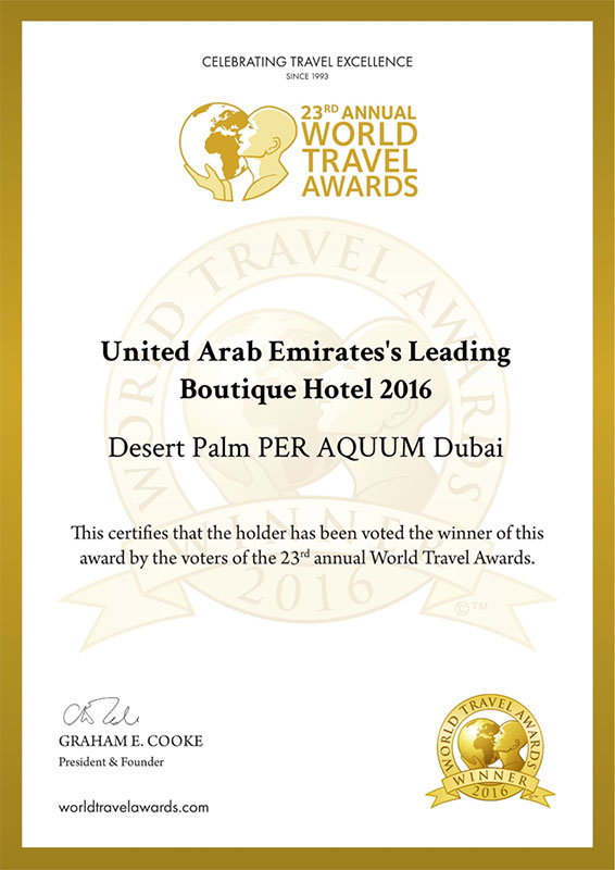 Albwardy investment desert palm retreat hotel for Leading small hotels