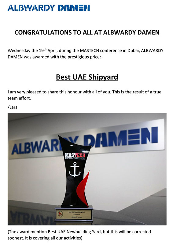 Albwardy Damen Best UAE Shipyard